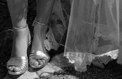 shoes and veil of bride